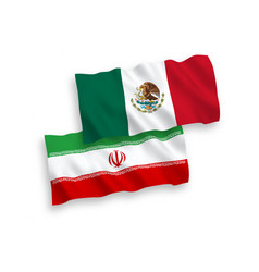 Flags mexico and iran on a white background vector