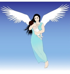 Flying woman with child vector