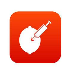 gmo lemon with syringe icon digital red vector image
