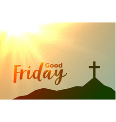 good friday cross background with sun flare vector image