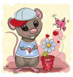 greeting card cute cartoon rat boy with flower vector image