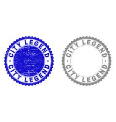 Grunge city legend scratched stamp seals vector