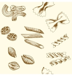 Hand drawn pasta Seamless pattern vector image