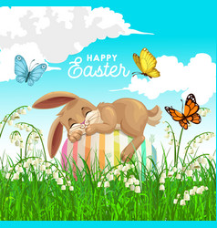 Happy easter poster with bunny sleep on egg vector
