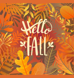Hello fall greeting banner on jungle background vector
