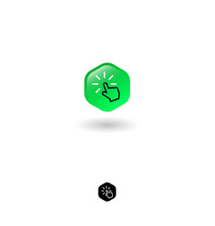 icon click hexagon turn on hand loading vector image