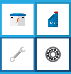 icon flat auto set of wrench oil jerrycan vector image