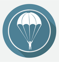 Icon parachute on white circle with a long shadow vector