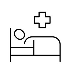 illness patient lying on bed hospital treatment vector image