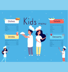 kids menu children in chef hat cooking food in vector image