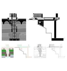 Lacerda elevator colored and black fill vector