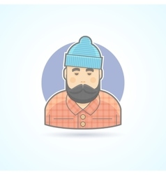 Lumberjack man with beard hipster woodman icon vector