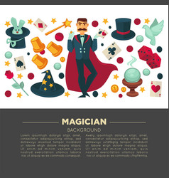 Magic show poster of magician man and trick vector