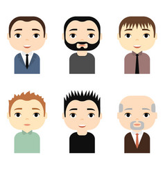 man avatars set with smiling faces male cartoon vector image