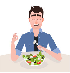 man vegetarian is eating a greek salad vector image