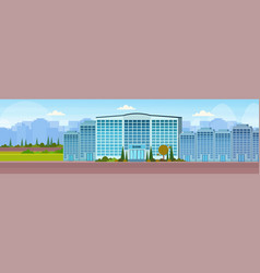 Modern bank building facade with glass wall front vector