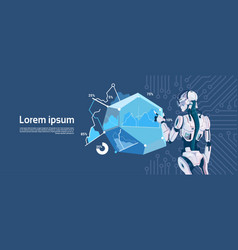 modern robot hold loading graphic diagram vector image