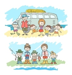 Mom dad and childrens happy family sketch vector image