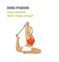 One legged king pigeon yoga pose or eka pada vector