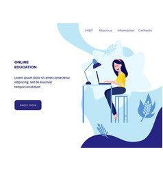 online education concept girl student vector image