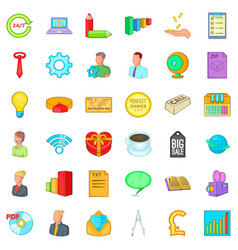 online marketing icons set cartoon style vector image