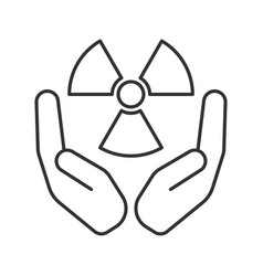 Open palms with atomic power symbol linear icon vector