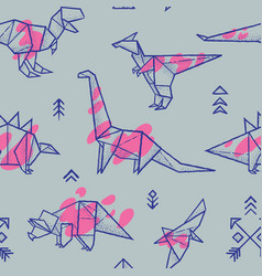 Origami dinosaurs with splashes seamless pattern vector