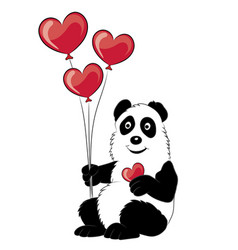 panda with a branch of a bamboo and balloons vector image