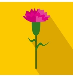 Pink carnation icon flat style vector image