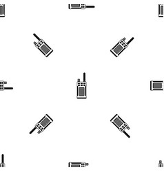 Portable handheld radio pattern seamless black vector