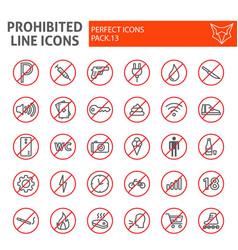 prohibited line icon set warning symbols vector image