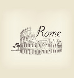 Rome city view landmark coliseum sign travel vector