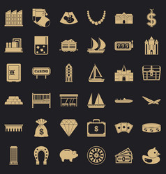 savings icons set simple style vector image