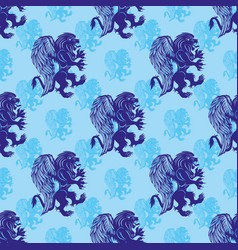 seamless pattern with griffins lions vector image