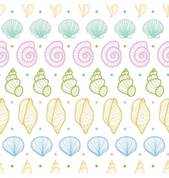 Seashells stripes line art seamless pattern vector