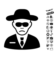 Security Agent Icon With Air Drone Tools Bonus vector