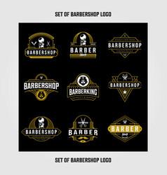 set barbershop logo design vintage lettering vector image