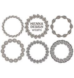 set henna floral frames vector image