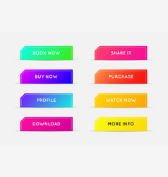 set modern gradient app or game buttons trendy vector image