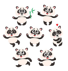 Set of cute smiling baby panda characters vector