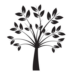 shape black tree with leaves outline vector image