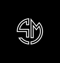 sm monogram logo circle ribbon style outline vector image