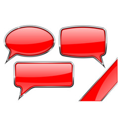 speech bubbles set of red communication 3d icons vector image