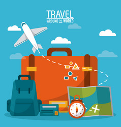 travel around the world luggage plane time credit vector image