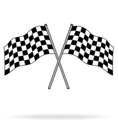 twin chequered checkered racing flags flying vector image