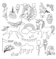 Unicorns are depicted in the style of school vector image