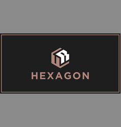 ur hexagon logo design inspiration vector image