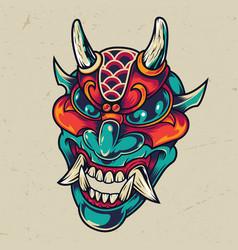 vintage colorful devil head vector image