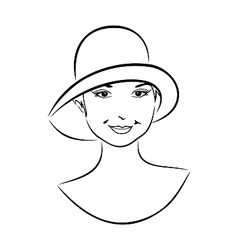 vintage girl face in hat - vector image vector image