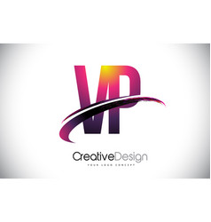 Vp v p purple letter logo with swoosh design vector